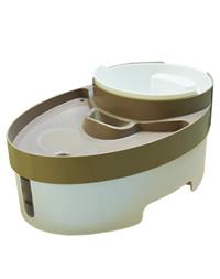 搭配智慧型單孔插座或智慧型三孔排插,透過手機以APP操作介面進行遠端寵物飲水機開啟與關閉功能。 3L總飲水容量,內附椰殼活性碳濾網,有效吸附水中雜質與氣味,抑制細菌繁殖。(飲水區容量1.8L) 800ml附刻度把手設計飼料碗,亦可當飼料杓使用,方便了解及控制飼料量。 自動循環漩渦流設計,將水流形成漩渦,帶走食物殘渣、毛髮等,保持水質乾淨。